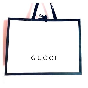 GUCCI Empty White Shopping Bag with black border